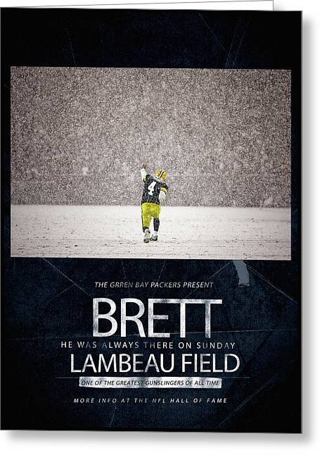 Lambeau Field Paintings Greeting Cards - Brett Favre Underground Poster Greeting Card by Big 88 Artworks