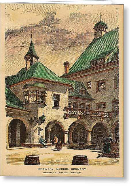 Hand-colored Greeting Cards - Brewery Munich Germany 1890 Greeting Card by Heilmann and Littmann