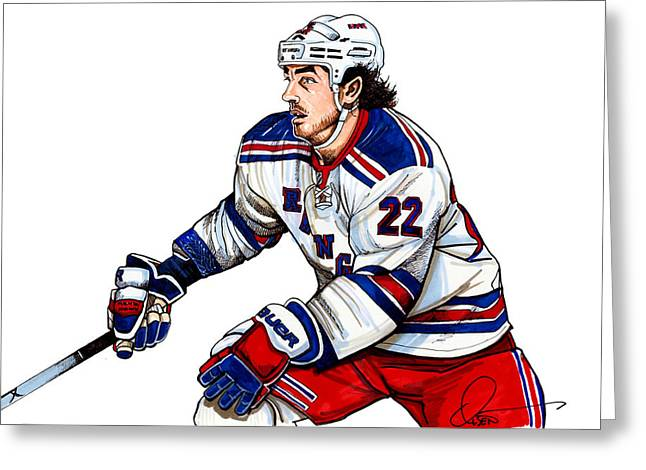 Hockey Drawings Greeting Cards - Brian Boyle Greeting Card by Dave Olsen