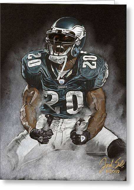 American League Pastels Greeting Cards - Brian Dawkins The Legend Greeting Card by Jordan Spector