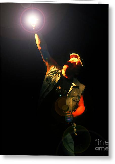 Acdc Greeting Cards - Brian Johnson ACDC Greeting Card by David Lee Thompson