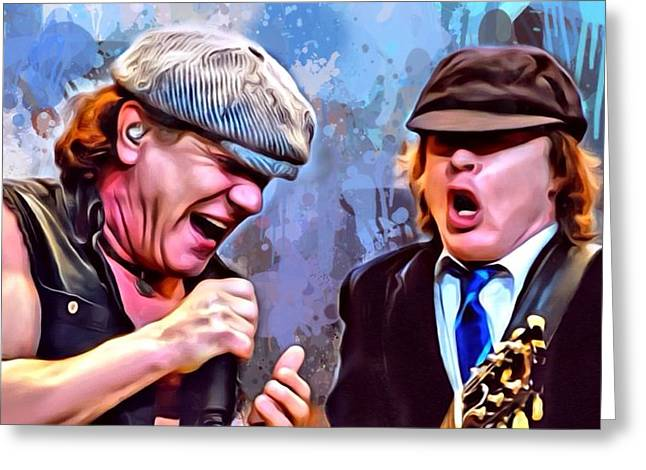 Digital Designs Greeting Cards - Brian Johnson with Angus Young Greeting Card by Scott Wallace
