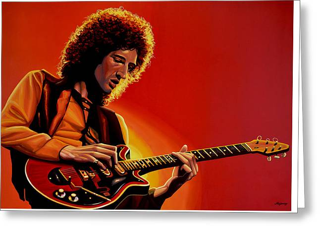 Brian May Of Queen Painting Greeting Card by Paul Meijering