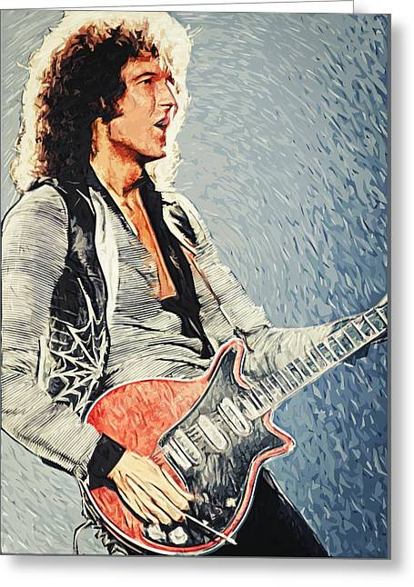 Adam Lambert Greeting Cards - Brian May Greeting Card by Taylan Soyturk