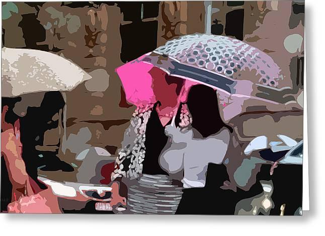 Crosswalk Greeting Cards - Bribane in the Rain #2 Greeting Card by Susan Vineyard