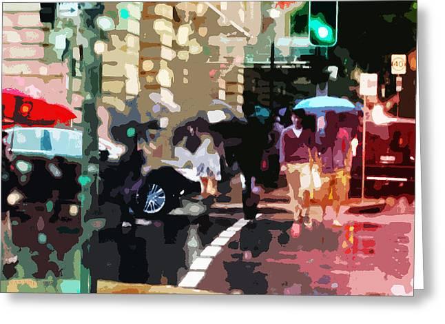 Crosswalk Greeting Cards - Bribane in the Rain Greeting Card by Susan Vineyard