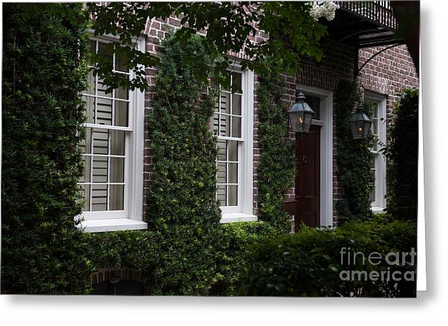 Entrance Door Greeting Cards - Brick and Ivy Greeting Card by Dale Powell