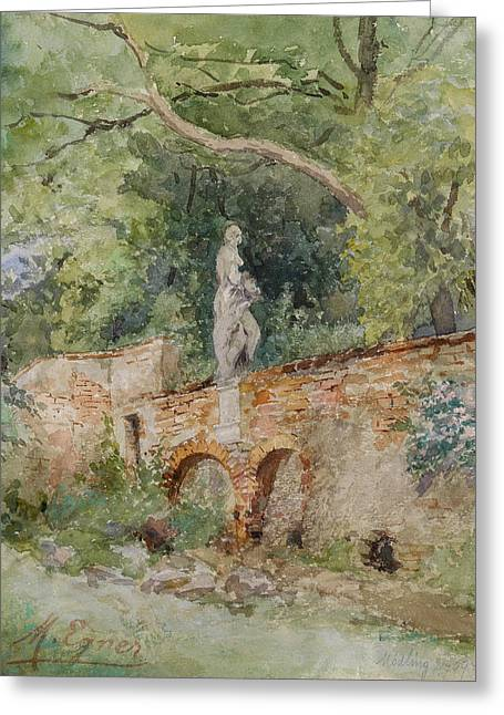 Brick Bridge With A Stone Figure Greeting Card by Marie Egner