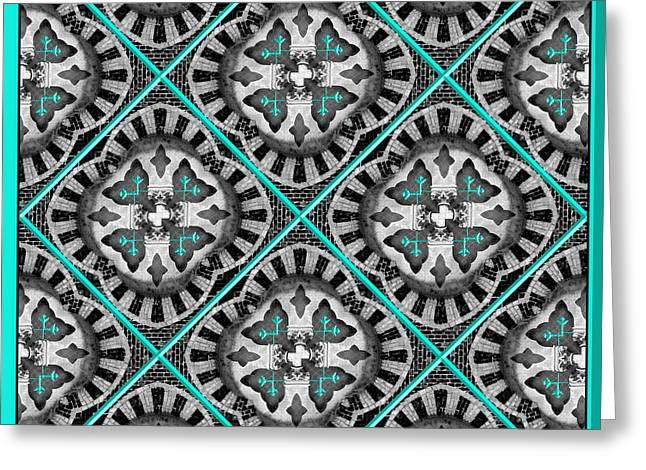 Geometrical Art Greeting Cards - Brick Laying Greeting Card by Naomi Tebbs