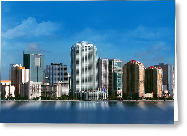 Brickell Greeting Cards - Brickell Skyline 1 Greeting Card by Bibi Romer