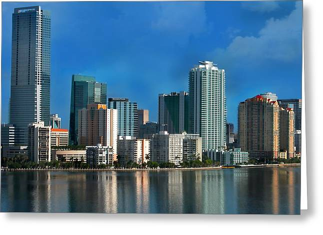 Brickell Greeting Cards - Brickell Skyline 2 Greeting Card by Bibi Romer