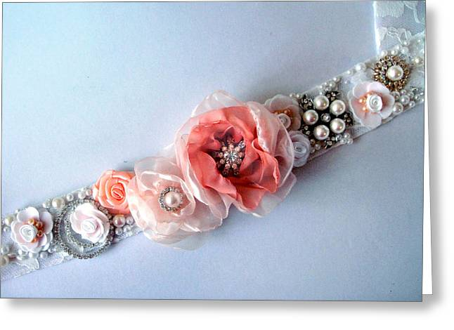 Bridal Sash Belt With Flowers And Rhinestones Greeting Card by Sofia Goldberg