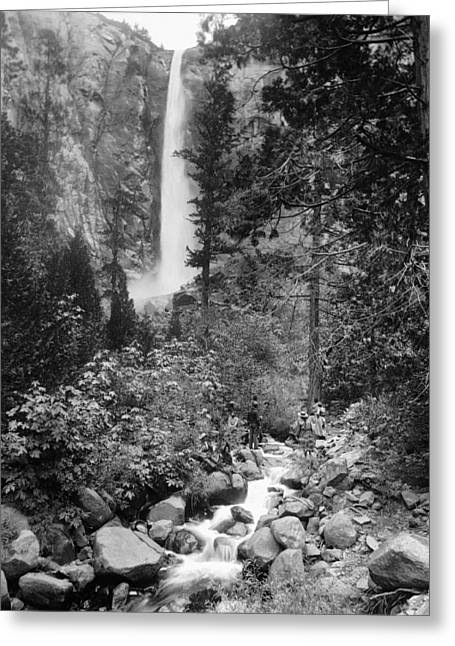 Bridal Veil Falls - Yosemite - 1901 Greeting Card by Daniel Hagerman
