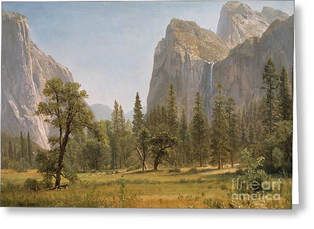 Picturesque Paintings Greeting Cards - Bridal Veil Falls Yosemite Valley California Greeting Card by Albert Bierstadt