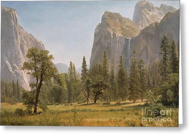 Bridal Veil Falls Yosemite Valley California Greeting Card by Albert Bierstadt