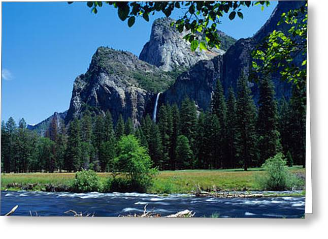 Bridalveil Falls Greeting Cards - Bridalveil Falls & Merced River Valley Greeting Card by Panoramic Images
