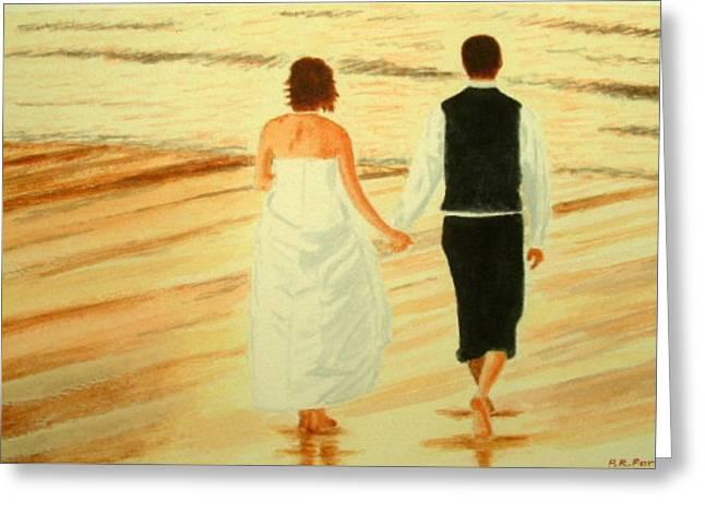 Bride And Bridegroom - Beachwalk At Sunset Greeting Card by Peter Farrow