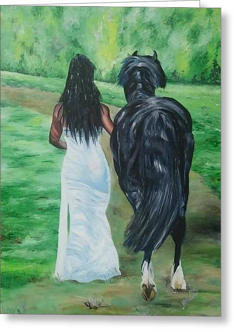 Abigail Greeting Cards - Bride and Colt Greeting Card by I F Abbie Shores