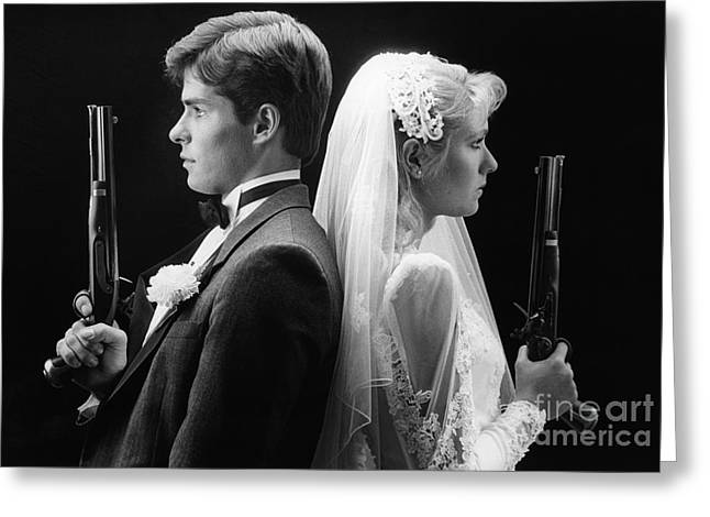 Bride And Groom With Dueling Pistols Greeting Card by H. Armstrong Roberts/ClassicStock