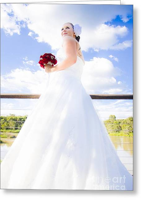 Bride In White Wedding Dress Greeting Card by Jorgo Photography - Wall Art Gallery