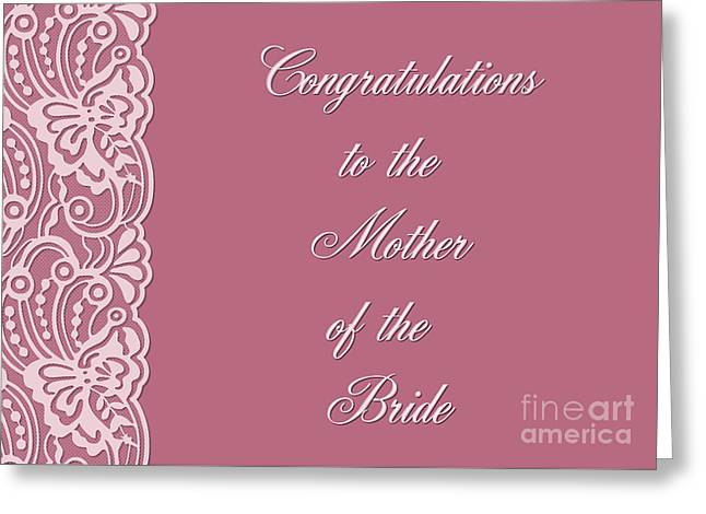 Wife Greeting Cards - Bride Mothers Lace Greeting Card by JH Designs