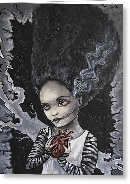 Fiendish Greeting Cards - Bride of Frankenstein Greeting Card by Diana Levin