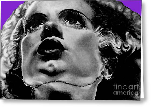 Leon Jimenez Greeting Cards - Bride of Frankenstein Signed Prints available at laartwork.com Coupon Code KODAK Greeting Card by Leon Jimenez