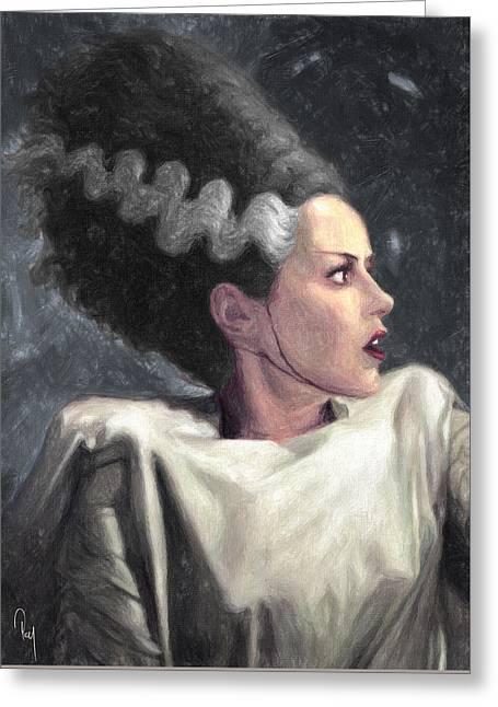 Goth Girl Greeting Cards - Bride of Frankenstein Greeting Card by Taylan Soyturk