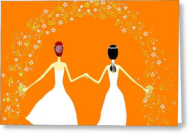 Same Dress Greeting Cards - Brides Greeting Card by Barbara Moignard