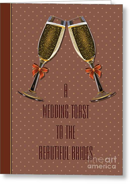 Wife Greeting Cards - Brides Bronze Toast Greeting Card by JH Designs