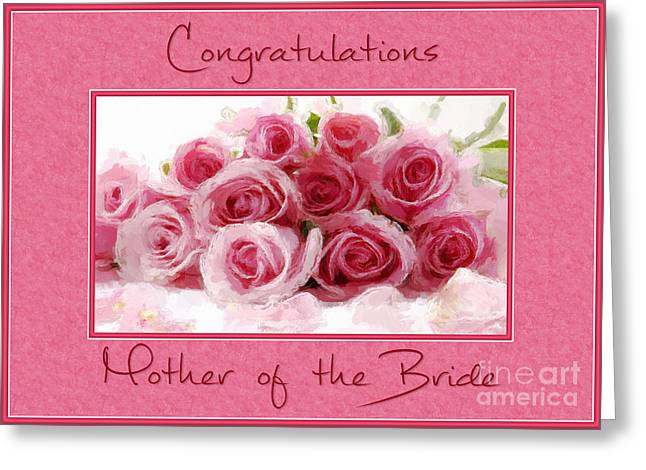 Wife Greeting Cards - Brides Mothers Pink Bouquet Greeting Card by JH Designs