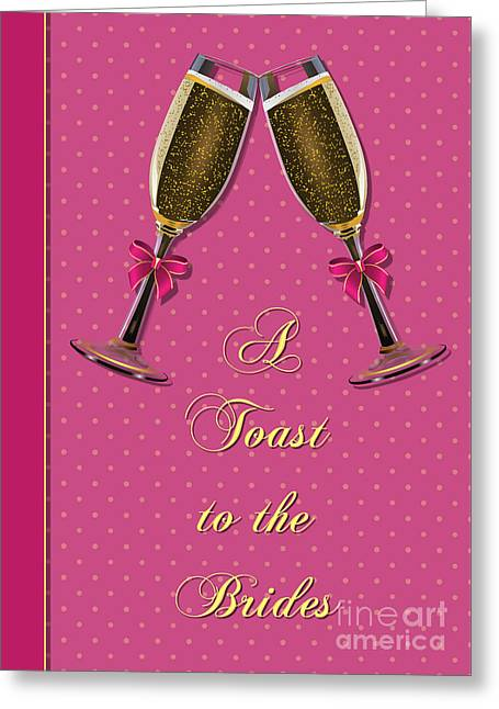 Wife Greeting Cards - Brides Pink Toast Greeting Card by JH Designs