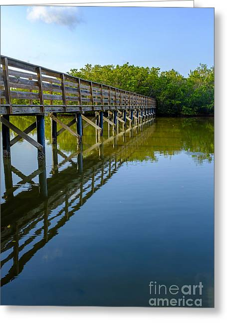 Florida Bridge Greeting Cards - Bridge Across The Bayou Greeting Card by Edward Fielding