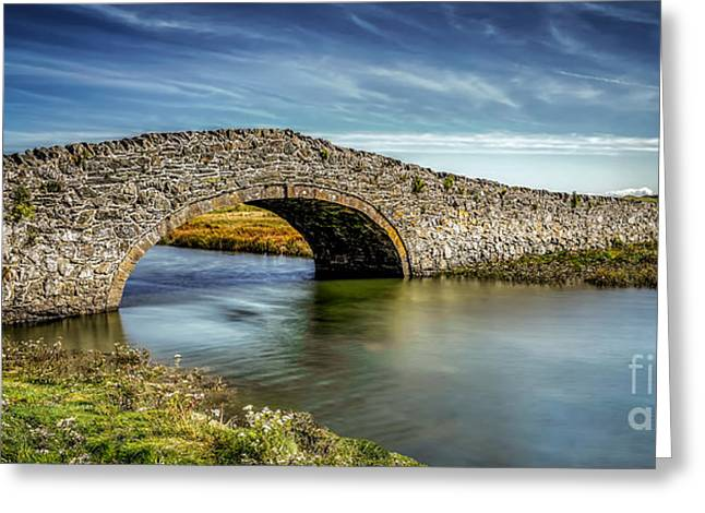Stone Bridge Greeting Cards - Bridge at Aberffraw Greeting Card by Adrian Evans