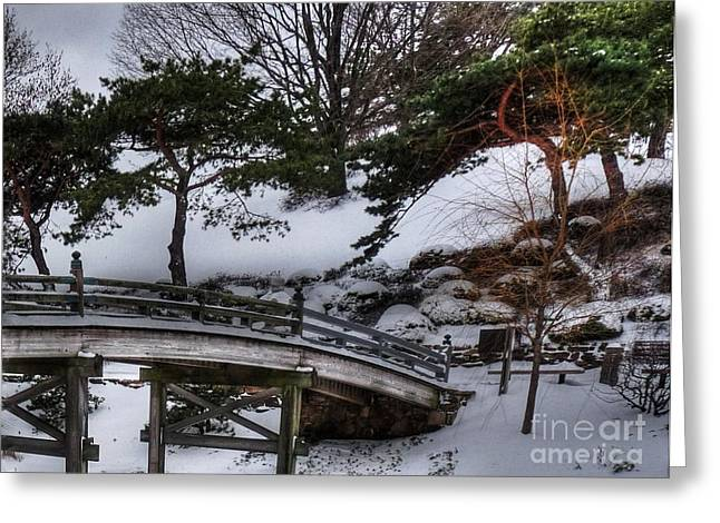 Desperate Greeting Cards - Bridge at Botanical Garden Greeting Card by David Bearden