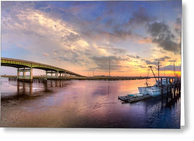 Bridge At Darien Greeting Card by Debra and Dave Vanderlaan