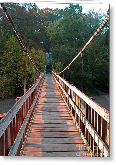 Turkey Run State Park Greeting Cards - Bridge at Turkey Run Greeting Card by Steve  Gass
