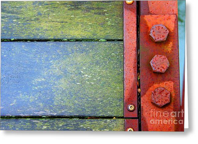 Component Greeting Cards - Bridge Bolts Bright Greeting Card by Karen Adams