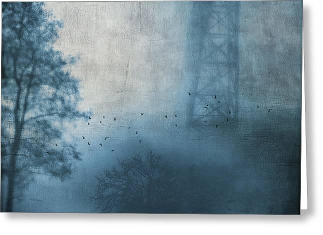 Dirk Wuestenhagen Greeting Cards - Bridge in fog Greeting Card by Dirk Wuestenhagen