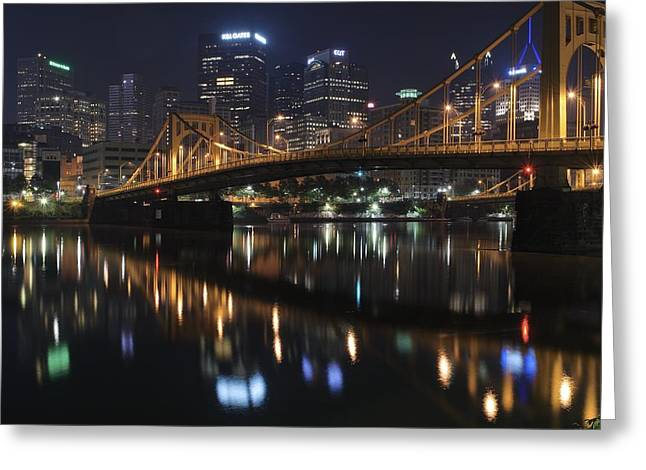 Bridge In The Heart Of Pittsburgh Greeting Card by Frozen in Time Fine Art Photography