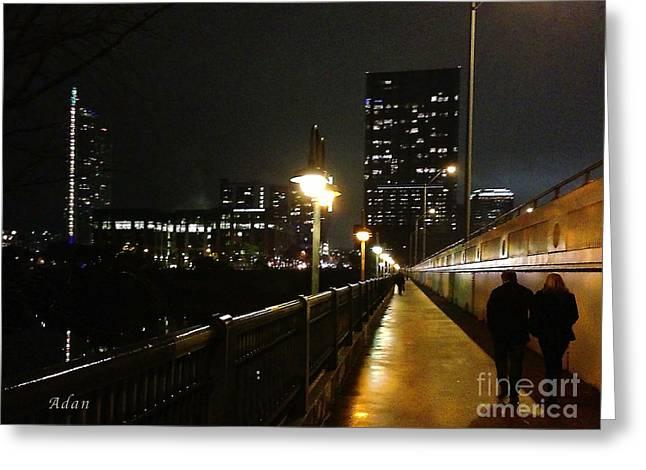 Bridge Into The Night Greeting Card by Felipe Adan Lerma
