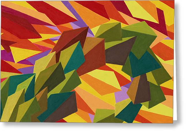 Abstract Geometric Pastels Greeting Cards - Bridge Meadow Road Greeting Card by Sean Corcoran