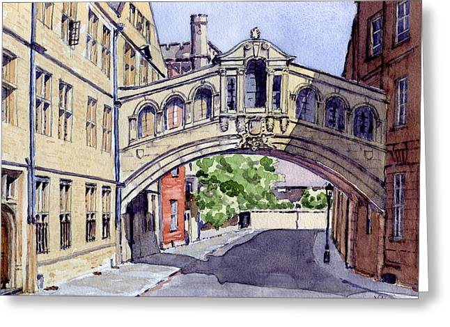Historic England Paintings Greeting Cards - Bridge of Sighs. Hertford College Oxford Greeting Card by Mike Lester