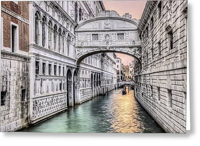 Italian Sunset Greeting Cards - Bridge of Sighs Greeting Card by Maria Coulson