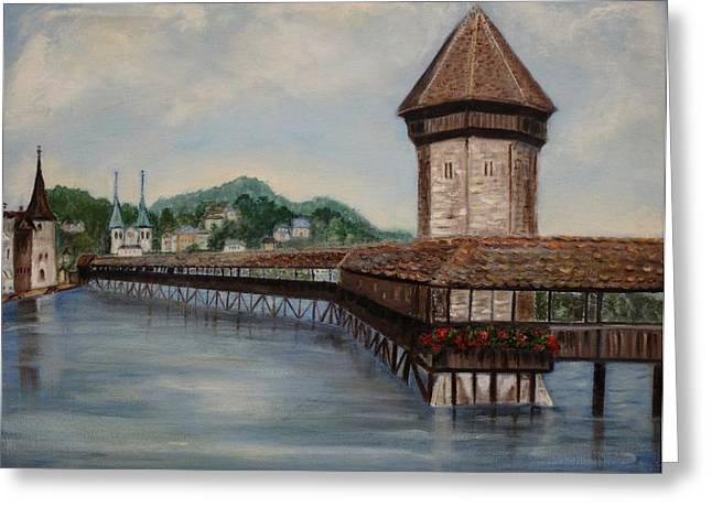 Town Pier Greeting Cards - Bridge on Lake Lucerne Greeting Card by Irene McDunn