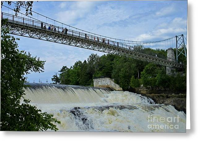 Famous Bridge Greeting Cards - Bridge over Montmorency Falls Greeting Card by Crystal Loppie