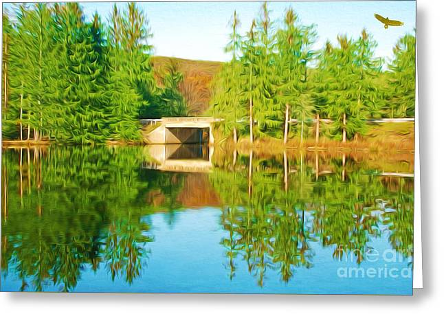 Reflection In Water Greeting Cards - Bridge Over Mountain Lake Greeting Card by Laura D Young