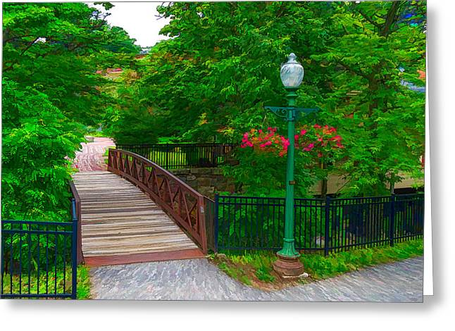 Amesbury Greeting Cards - Bridge over rapids in downtown Amesbury Greeting Card by Thomas Logan