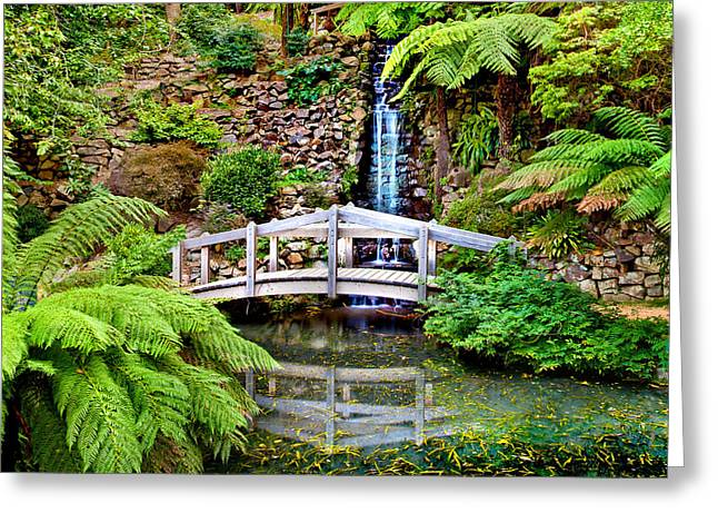 Waterfall Photography Greeting Cards - Bridge Over Still Water Greeting Card by Az Jackson