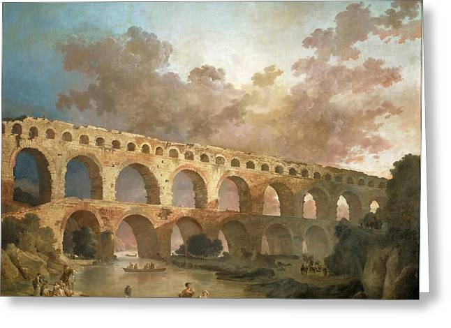 Robert; Hubert (1733-1808) Greeting Cards - Bridge over the Gard Greeting Card by Hubert Robert